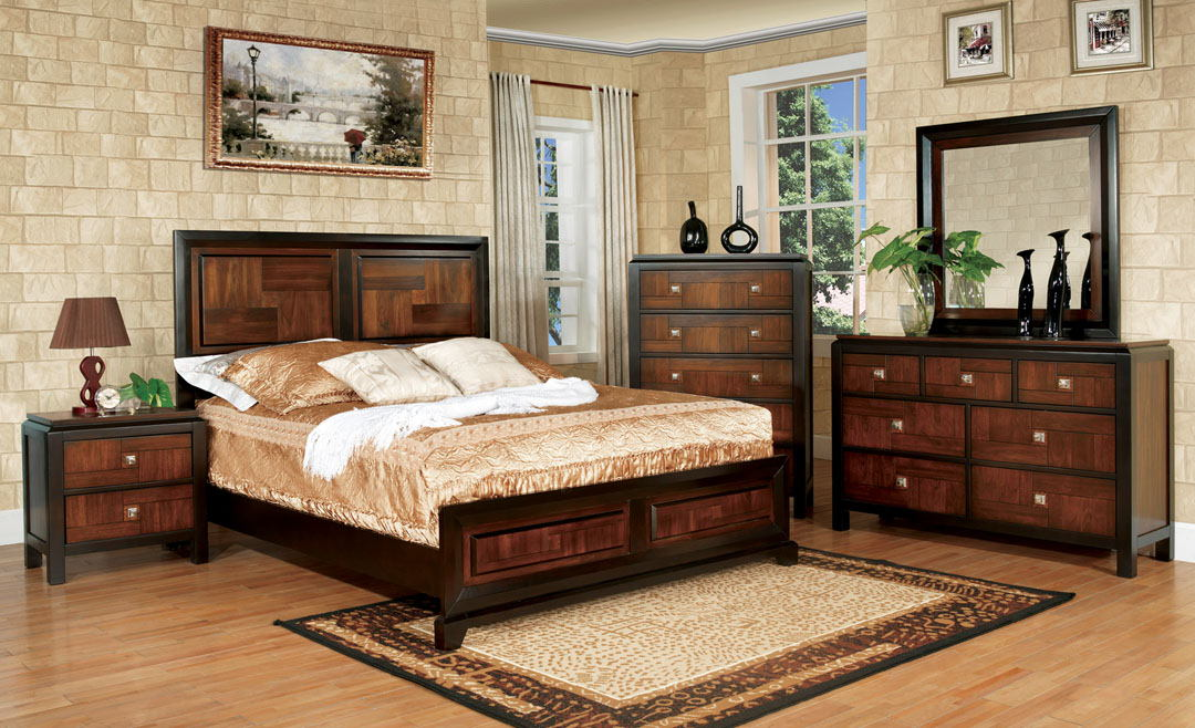 5 pc patra contemporary style acacia and walnut finish wood queen bedroom set with double deck top headboard and footboard