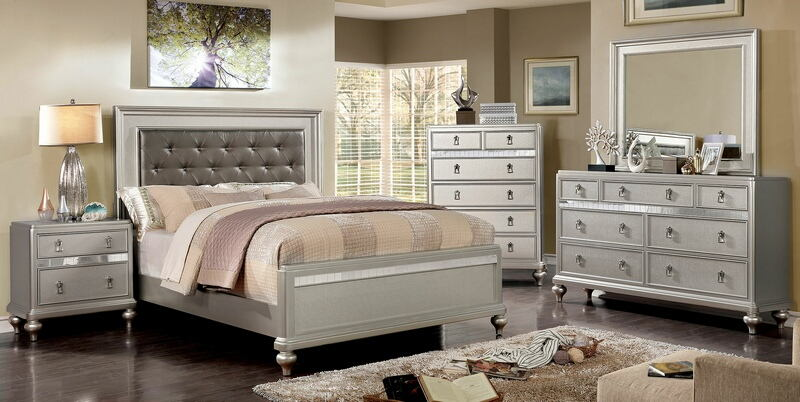 CM7170SV-5PC 5 pc Avior silver finish wood padded and tufted headboard queen bedroom set