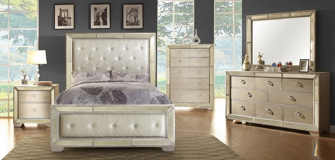 5 pc loraine silver finish wood with silver mirrored border and tufted headboard with nail head trim queen bedroom set