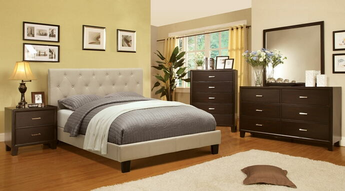 5 pc leeroy collection ivory padded fabric upholstered contemporary style espresso wood finish queen platform bedroom set