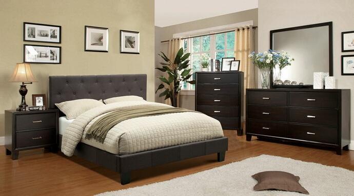 CM7200LB-CM7088 5 pc leeroy gray padded fabric contemporary style espresso wood finish queen platform bedroom set