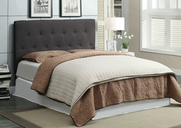 Leeroy ii collection gray fabric upholstered padded rectangular full / queen size headboard with diamond button tufted design