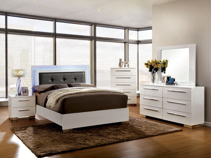 Clementine collection contemporary style white high gloss finish wood and led lighting trim queen bed set