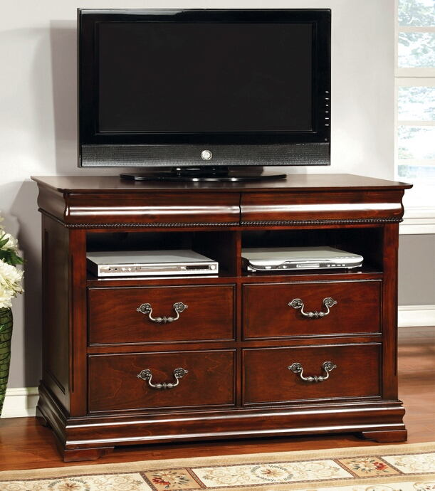 FOA Mandura collection transitional style cherry finish wood TV stand media chest