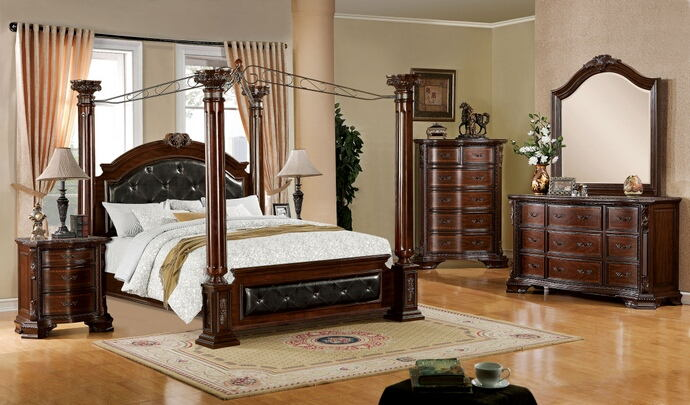 5 pc. mandalay two toned brown cherry wood finish 4 posts canopy bedroom set