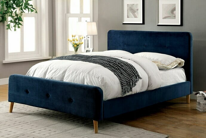 Barney collection navy padded flannelette fabric queen bed set