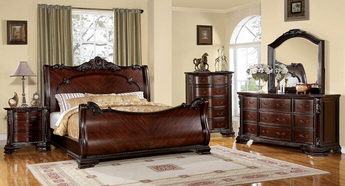5 pc. bellefonte brown cherry finish luxurious baroque style sleigh queen bedroom set
