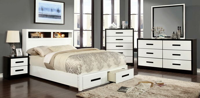 5 pc rutger collection contemporary style white and black finish wood queen bedroom set with drawers in footboard