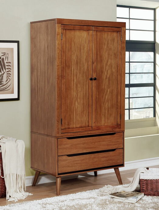 CM7386A-AR Lennart mid century modern oak finish wood clothing armoire stand alone closet cabinet