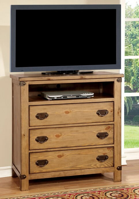 CM7449TV Conrad contemporary style distressed pine finish wood tv console media chest