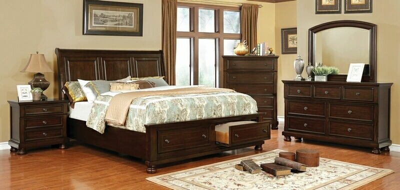 CM7590CH-5pc 5 pc Castor brown cherry finish wood w/ drawers in footboard queen bedroom set