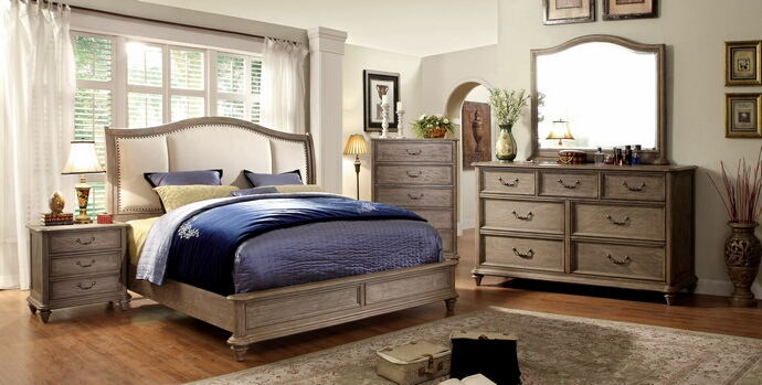 CM7612-7611 5 pc belgrade ii rustic natural tone finish wood queen padded headboard bed set with low footboard