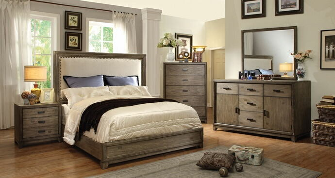 CM7615 5 pc antler natural ash w/ spotted stains finish wood queen bed set with padded headboard