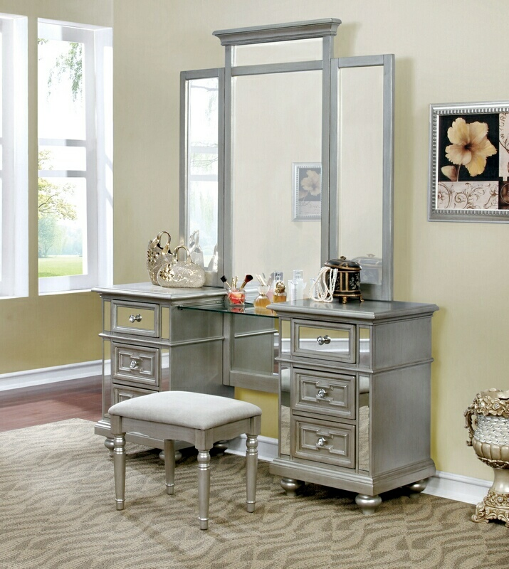 CM7673V 3 pc Salamanca silver finish wood make up bedroom vanity set