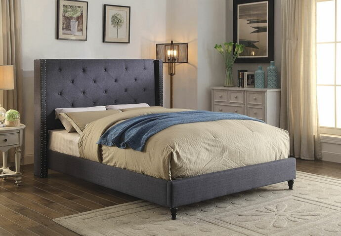 CM7677BL Anabelle blue fabric and tufted tall queen headboard bed frame set