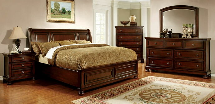 5 pc northville collection cherry finish wood queen bed set with low footboard