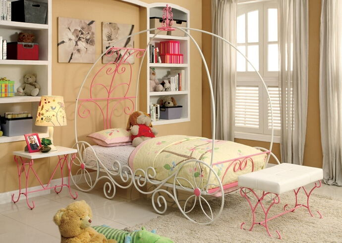 Enchant collection pink and white finish twin metal frame princess carriage style canopy bed frame