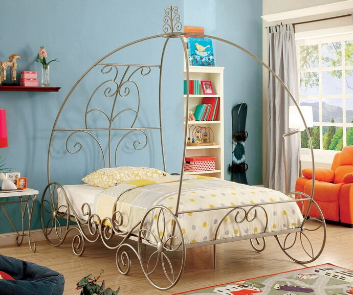 Enchant collection champagne finish twin metal frame princess carriage style canopy bed frame