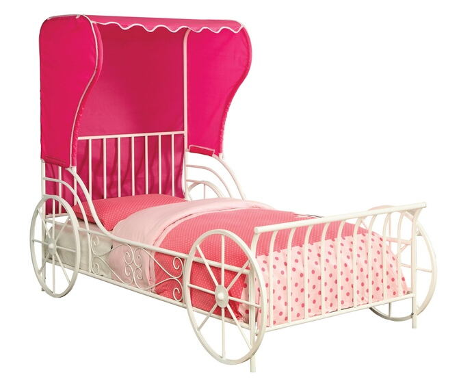 CM7715F Zoomie kids half moon bay white finish metal frame carriage style with pink fabric wing back tent canopy full bed frame