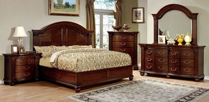 5 pc grandom ii collection cherry finish wood queen bed set with low footboard