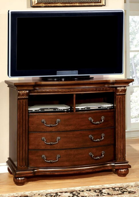 Grandom collection contemporary style antique walnut finish wood tv console media chest
