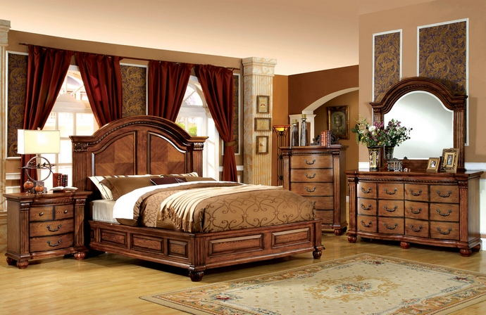 5 pc bellgrand luxurious masterpiece queen bedroom set in a antique tobacco oak finish wood