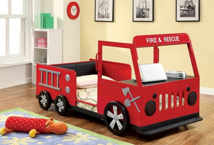 Rescuer fire truck style design twin size kids red and black with silver accents sturdy metal construction bed frame set
