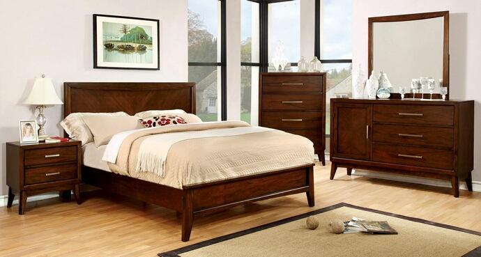 5 pc snyder collection transitional style brown cherry finish wood queen bedroom set