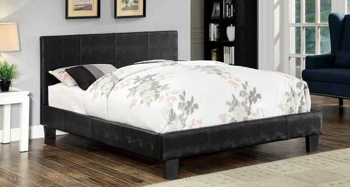 Wallen collection black crocodile leatherette upholstered queen bed set