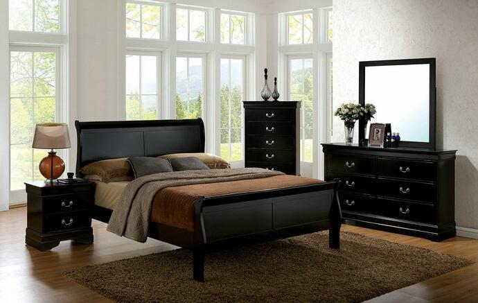 CM7866BK 5 pc Louis Phillipe III contemporary style black finish wood sleigh queen bedroom set