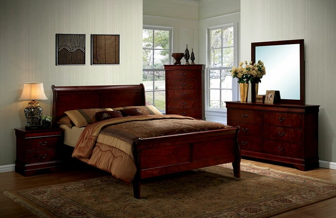 CM7966CH 5 pc Louis Phillipe III contemporary style cherry finish wood sleigh queen bedroom set