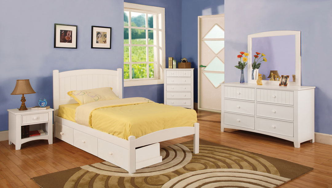 4 pc caren twin platform bed with panel headboard  white wood finish