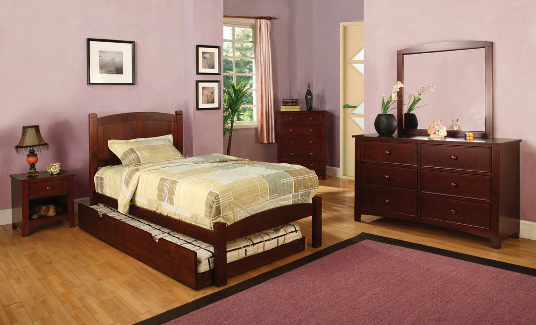 Furniture of america CM7903CH-T 4 pc cara i twin platform bed with panel headboard cherry wood finish