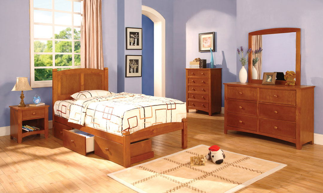Furniture of america CM7903OAK-T 4 pc cara ii twin platform bed with panel headboard oak wood finish