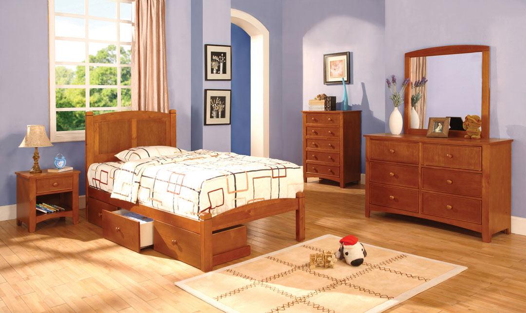 4 pc cara ii twin platform bed with panel headboard oak wood finish