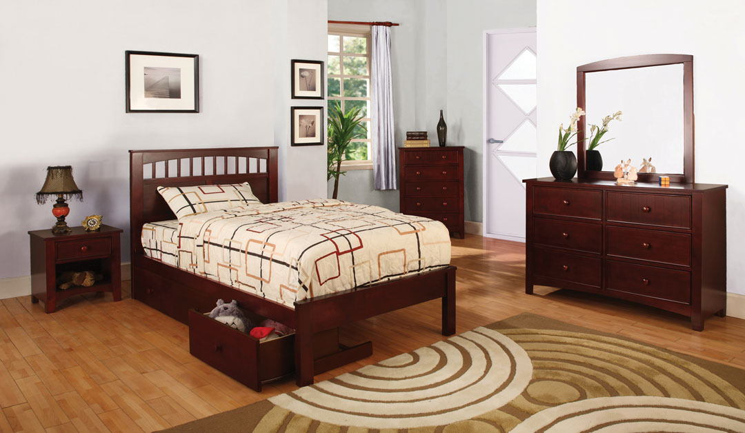 4 pc carus i twin platform bed with panel headboard cherry wood finish