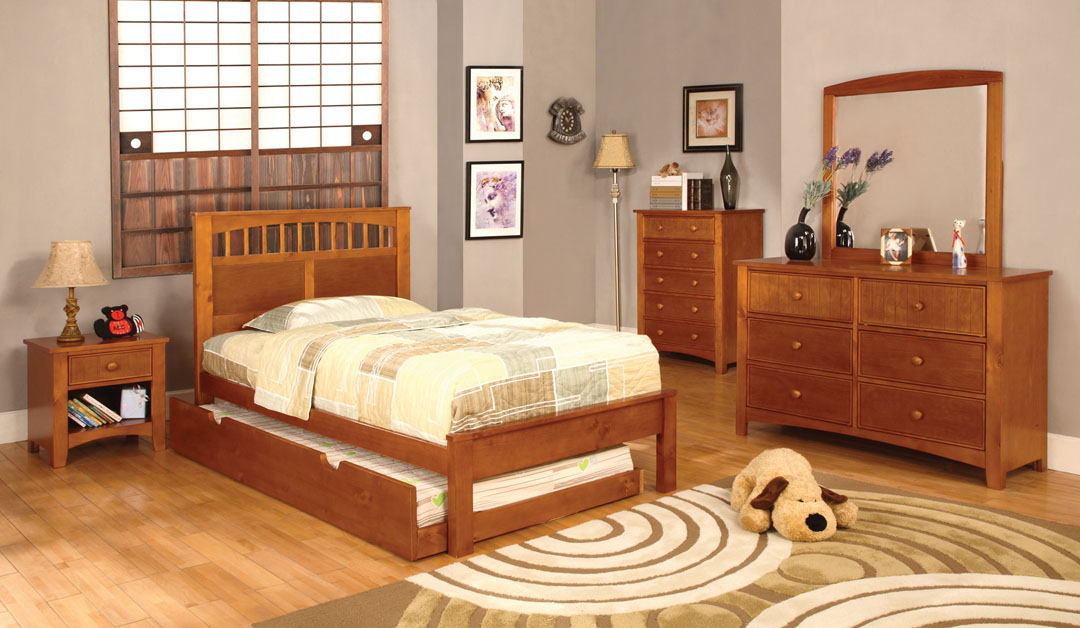 4 pc carus ii twin platform bed with panel headboard oak wood finish