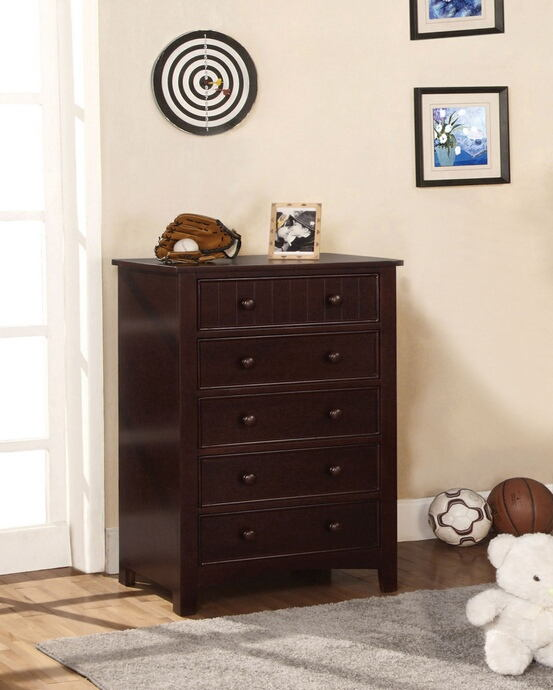 Espresso wood finish chest with 5 - drawers