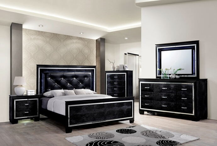 5 pc bellanova collection black finish wood queen bed set with padded and tufted crocodile textured faux leather headboard
