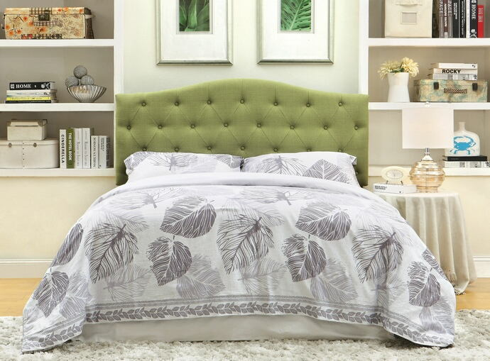 CM7989GR-HB Alipaz green linen like fabric rounded top tufted and padded full / queen size headboard