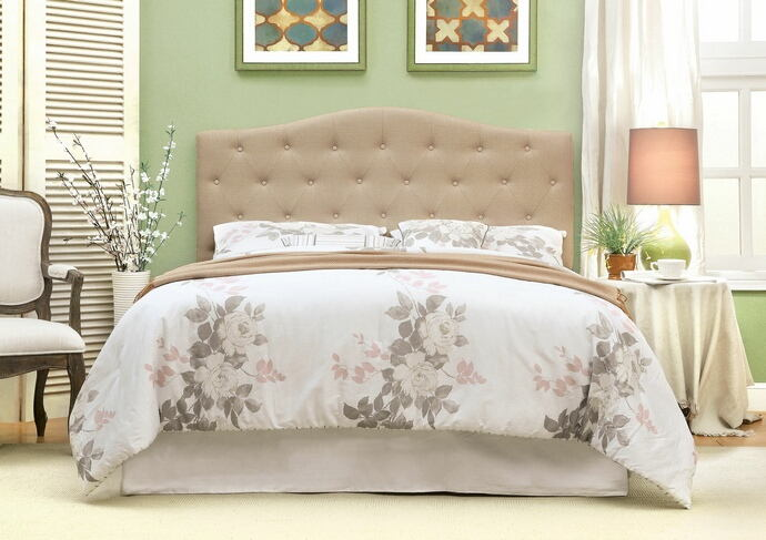 Alipaz collection ivory linen like fabric rounded top tufted and padded full / queen size headboard