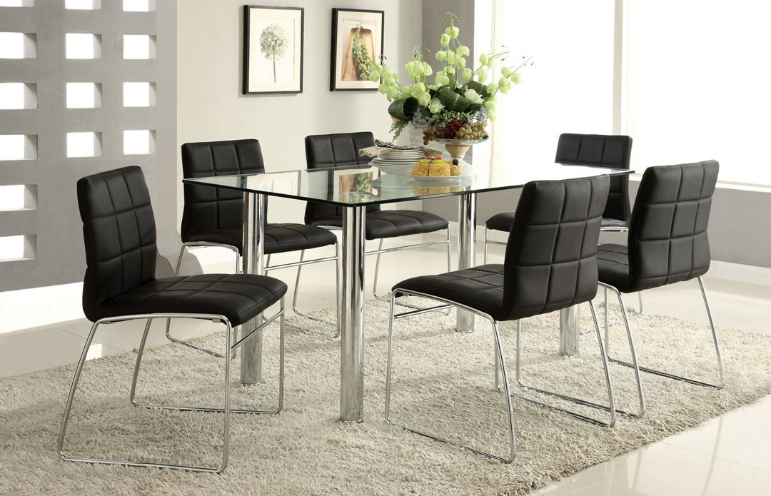 7 pc. oahu contemporary style glass table top with chrome finish legs