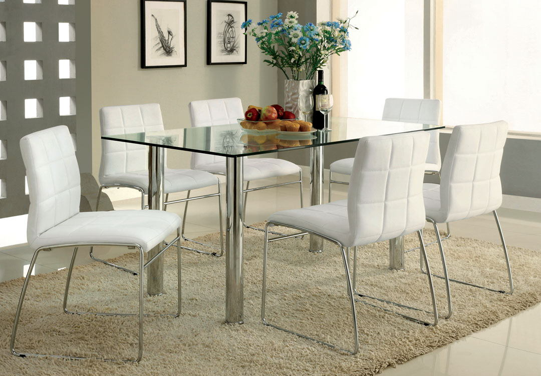 7 pc. white leather like vinyl upholstered oahu contemporary style glass table top with chrome finish legs