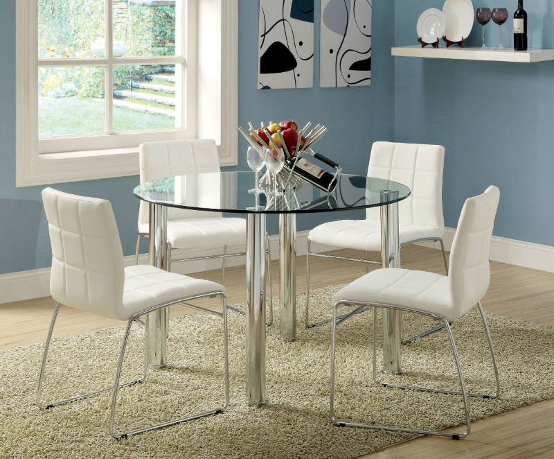 "CM8320T-WH 5 pc kona 45"" round glass dining table set with chrome legs"