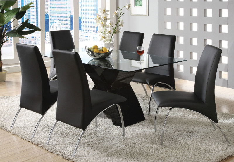 CM8370BK-T-7PC 7 pc Orren ellis hydes wailoa modern glass table top black finish x-shaped base dining table set
