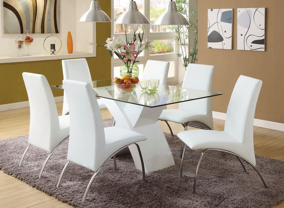 Cm8370wh T 7pc 7 Pc Orren Ellis Hydes Wailoa Modern Glass Table Top White Finish X Shaped Base Dining Table Set