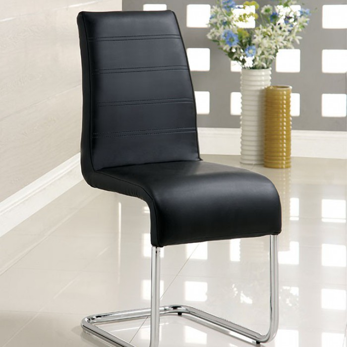 CM8371BK-SC-2PK Set of 2 Orren ellis monaco mauna modern black faux leather dining chairs