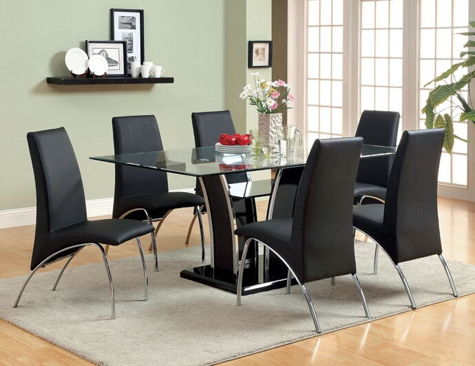 7 pc glenview collection contemporary style black finish wood chrome trim base with beveled glass top dining table set