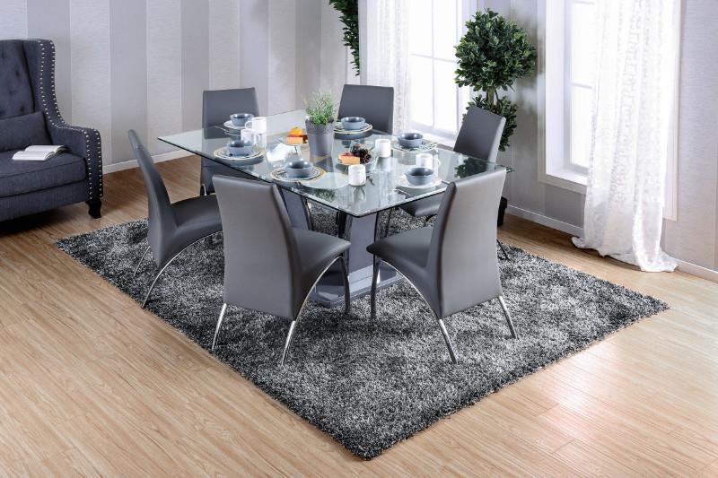 CM8372T-GY-8370GY-7PC 7 pc Orren ellis arae glenview gray finish wood chrome trim base beveled glass top dining table set