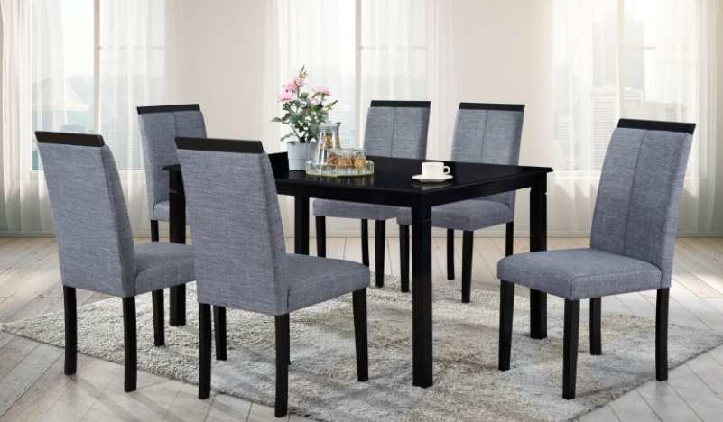 Carla-7PC 7 pc Latitude run cliett carla espresso finish wood grey fabric chairs dining table set